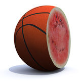 Basket ball cut inside a watermelon Royalty Free Stock Image