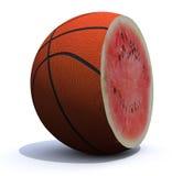 Basket ball cut inside a watermelon. A basket ball cut inside a watermelon, 3d illustration Royalty Free Stock Image