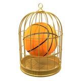 basket-ball 3d dans une cage à oiseaux Photographie stock