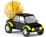 basket-ball 3D dans une voiture noire Images libres de droits
