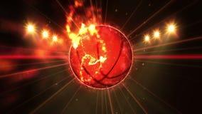 Basket-ball dans le domaine sous l'éclairage de couleur Concept d'équipe de sports stade ground Champ Projecteurs la nuit illustration de vecteur