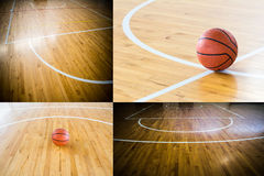 Basket-ball dans le gymnase Photos stock