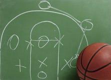 Basket-ball dans le tableau avec la pièce Photographie stock libre de droits