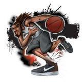 Basket-ball de blessures de tendon de bille de rue Images stock