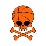 Basket-ball de crâne La boule est tête de squelette Symbolisez pour les sports fa illustration de vecteur