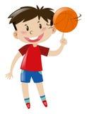 Basket-ball de rotation de garçon sur le doigt illustration libre de droits