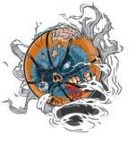 Basket-ball de zombi déchirant hors du fond Photographie stock libre de droits