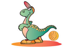Basket Ball Dino. Illustration Handdrawed royalty free illustration