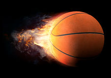 Basket-ball en feu Photos libres de droits