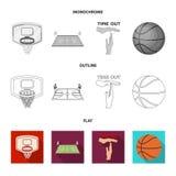Basket-ball et attributs plats, contour, icônes monochromes dans la collection d'ensemble pour la conception Joueur de basket et  illustration de vecteur