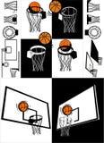 Basket-ball et vecteur de panneau arrière Photographie stock libre de droits