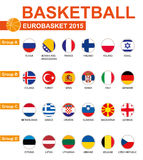 Basket-ball, Eurobasket 2015, tous les groupes, tous les drapeaux Photographie stock