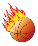 Basket ball on fire Royalty Free Stock Images