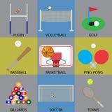 Basket-ball, football, golf et volleyball d'icône de jeu de boule Images stock