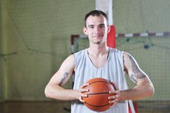Basket ball game player portrait Royalty Free Stock Photos
