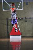Basket ball game player at sport hall Royalty Free Stock Image