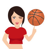 Basket ball hold by beautiful girl woman sport smile. Vector Royalty Free Stock Photography
