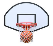 Basket ball in the hoop. Basketball kit with backboard, hoop, net and ball - 3D illustration Stock Photography