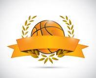 Basket ball laurels and ribbon illustration Stock Images