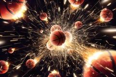 Basket-ball Les boules de basket-ball avec le feu étincelle dans l'action Noir d'isolement Images libres de droits