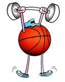 Basket ball lifting weights Royalty Free Stock Image