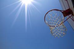 Basket ball net and rim set. Under sunlight stock image