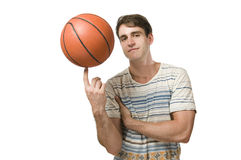 Basket ball on one finger_iso Royalty Free Stock Photography