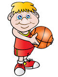 Basket ball player. Funny basket ball player with a red shirt royalty free illustration
