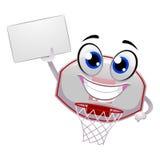 Basket-ball Ring Mascot tenant un conseil vide Photographie stock libre de droits
