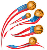Basket ball set  with USA flag Royalty Free Stock Photography