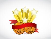 Basket ball stars and ribbon illustration design Stock Photography
