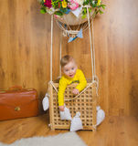 In the basket of the balloon is on a journey Stock Photo