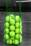 Basket of Balls. Basket of tennis balls ready for a drill stock photo