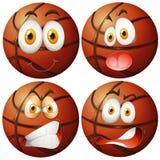 Basket-balls avec quatre émotions différentes Illustration Stock