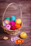 Basket with balls. Of colored yarn Royalty Free Stock Images