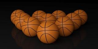 basket-balls du rendu 3d sur le fond noir Photo stock