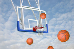 Basket Balls towards hoop Royalty Free Stock Photo