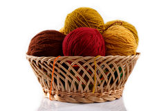 Basket with balls of wool Royalty Free Stock Photos