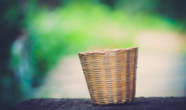 Basket with bamboo Royalty Free Stock Image