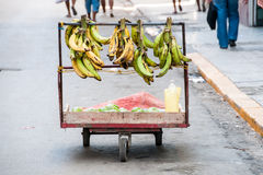 Basket of banana in the street Stock Photos