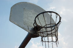 Basket. Ball goal against the sky in a sports Stock Images