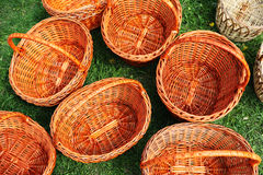 Basket. S woven from a vine, on a green clearing Stock Photo