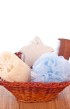 Basket with bath accessories Stock Images
