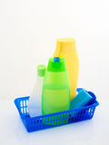 Basket with bath accessories. On a white background Stock Photo