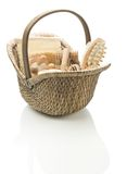 Basket with bath accessories Royalty Free Stock Images