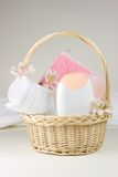 Basket with bathroom objects Stock Image