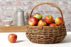 Basket with beautiful apples Royalty Free Stock Photo