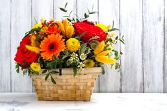 Basket with beautiful bright flowers. Mothers day greeting card. Copy space Royalty Free Stock Photography