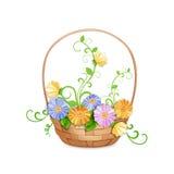 Basket of beautiful flowers . Stock Photos