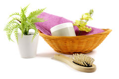 Basket with beauty and hygiene products Royalty Free Stock Image